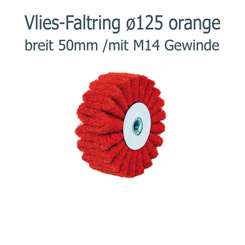Vliesfaltring ø125 x50 M14, orange ( Korn 80 )